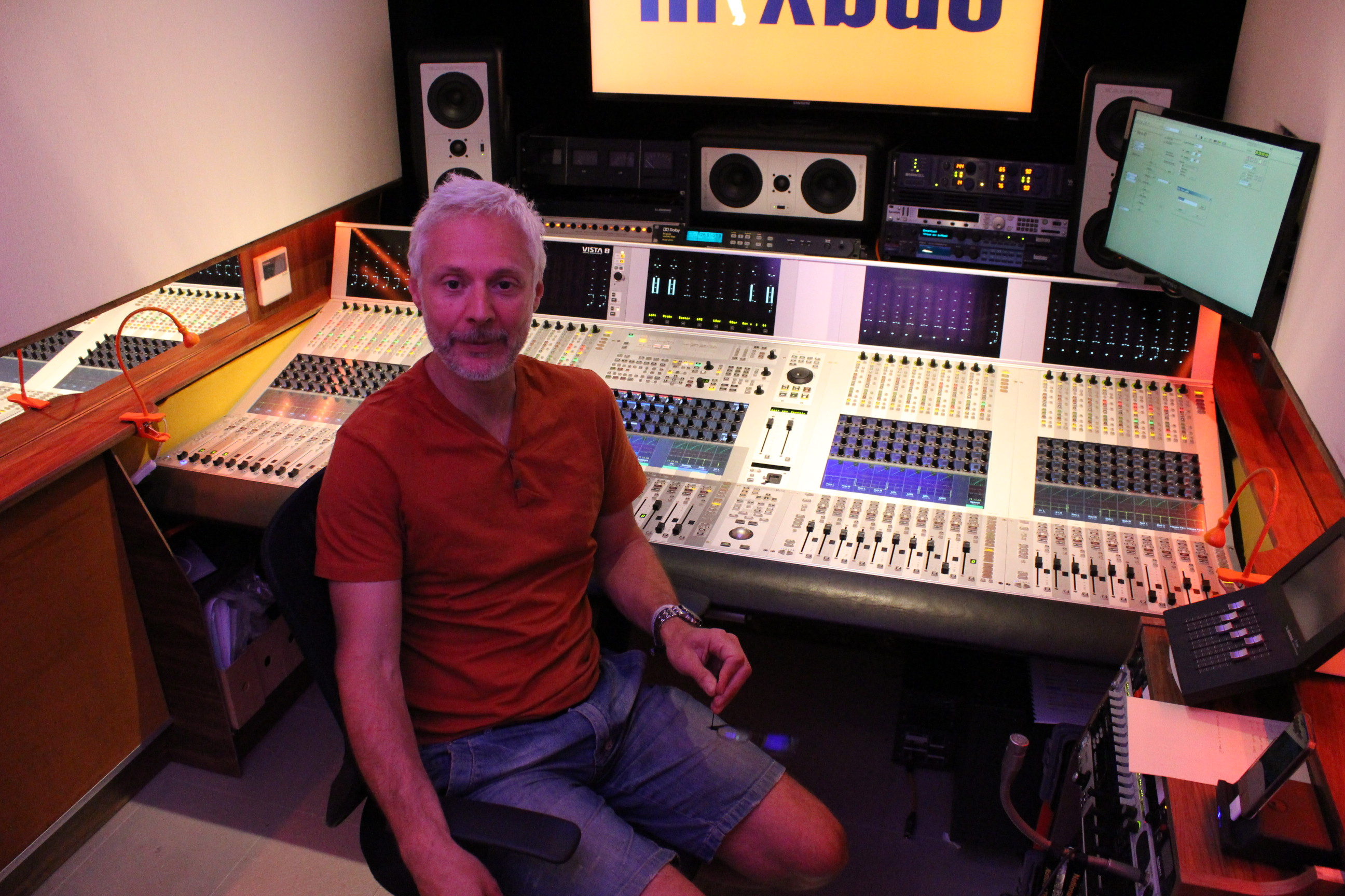 Conrad Fletcher inside his OB truck the MixBus