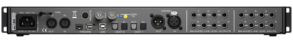 RME Fireface 802 Rear Panel