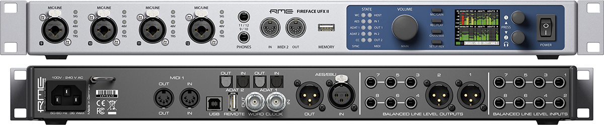 RME Fireface UFX II Front & Back Panel - Synthax Audio UK
