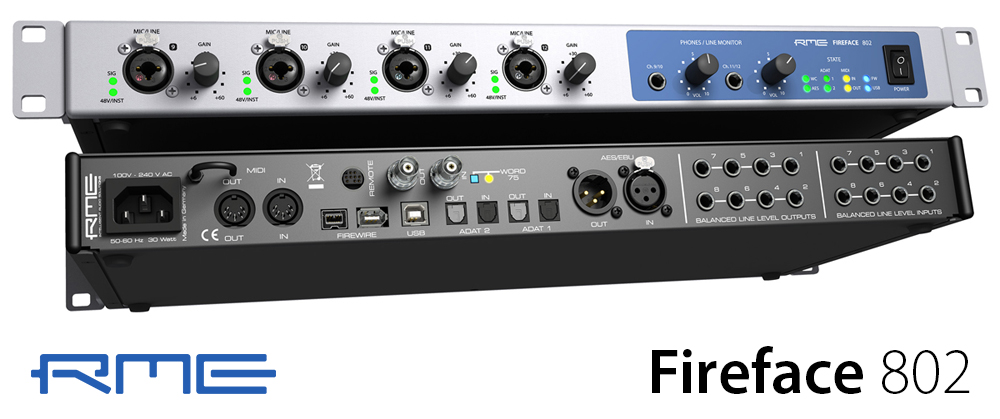 RME-Fireface-802-Front-and-Rear-Angle-Synthax-Audio-UK