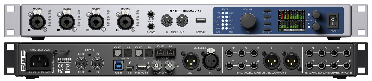 RME Fireface UFX+ - Front & Back Panels - Synthax Audio UK