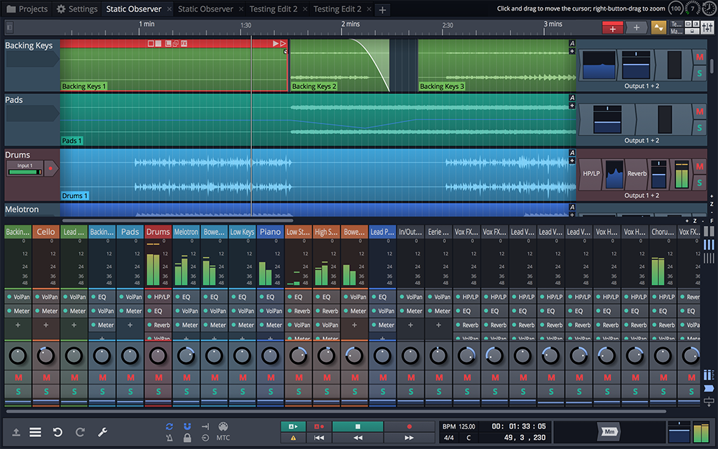 Tracktion Waveform - edit mixer view