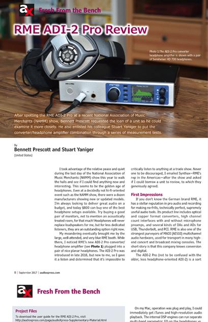 RME ADI-2 Pro - AudioXpress Review 2017