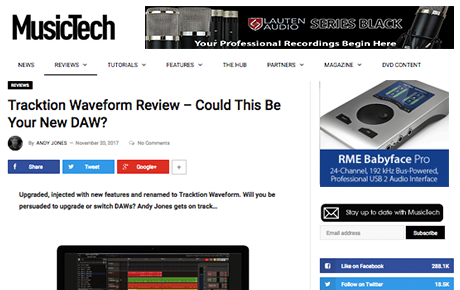 Tracktion Waveform Review By MusicTech - News Image