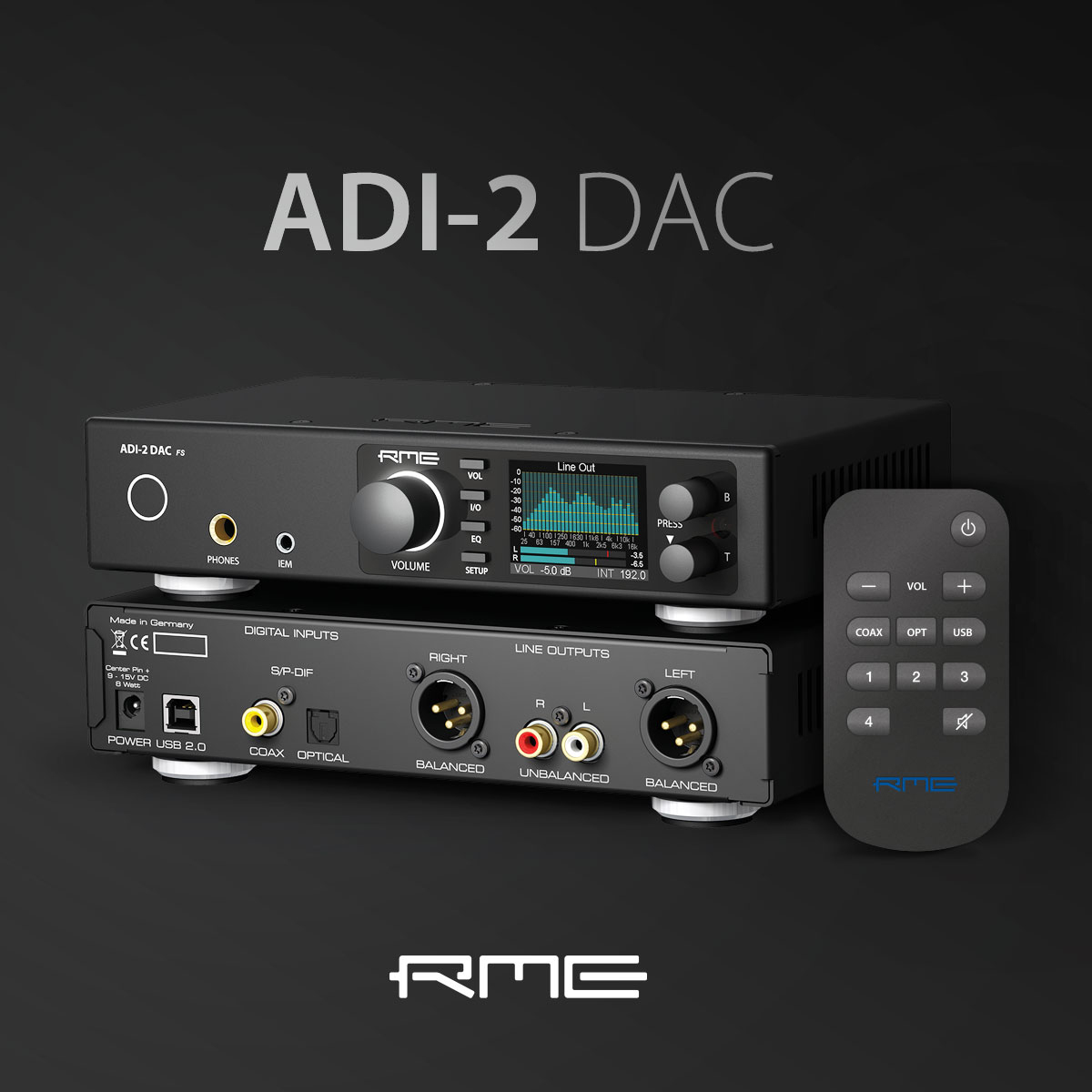 RME ADI-2 DAC With Remote Control - Black - Synthax Audio UK