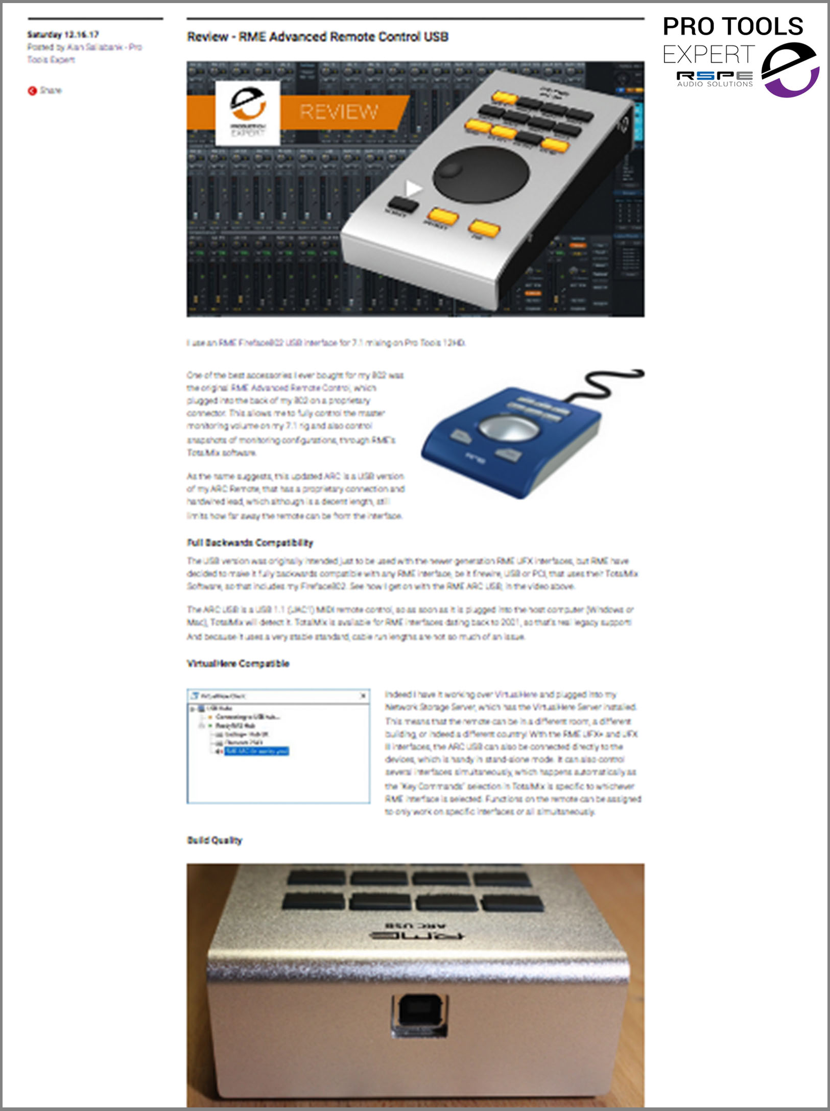 RME ARC USB Review - Pro Tools Expert - Synthax Audio UK
