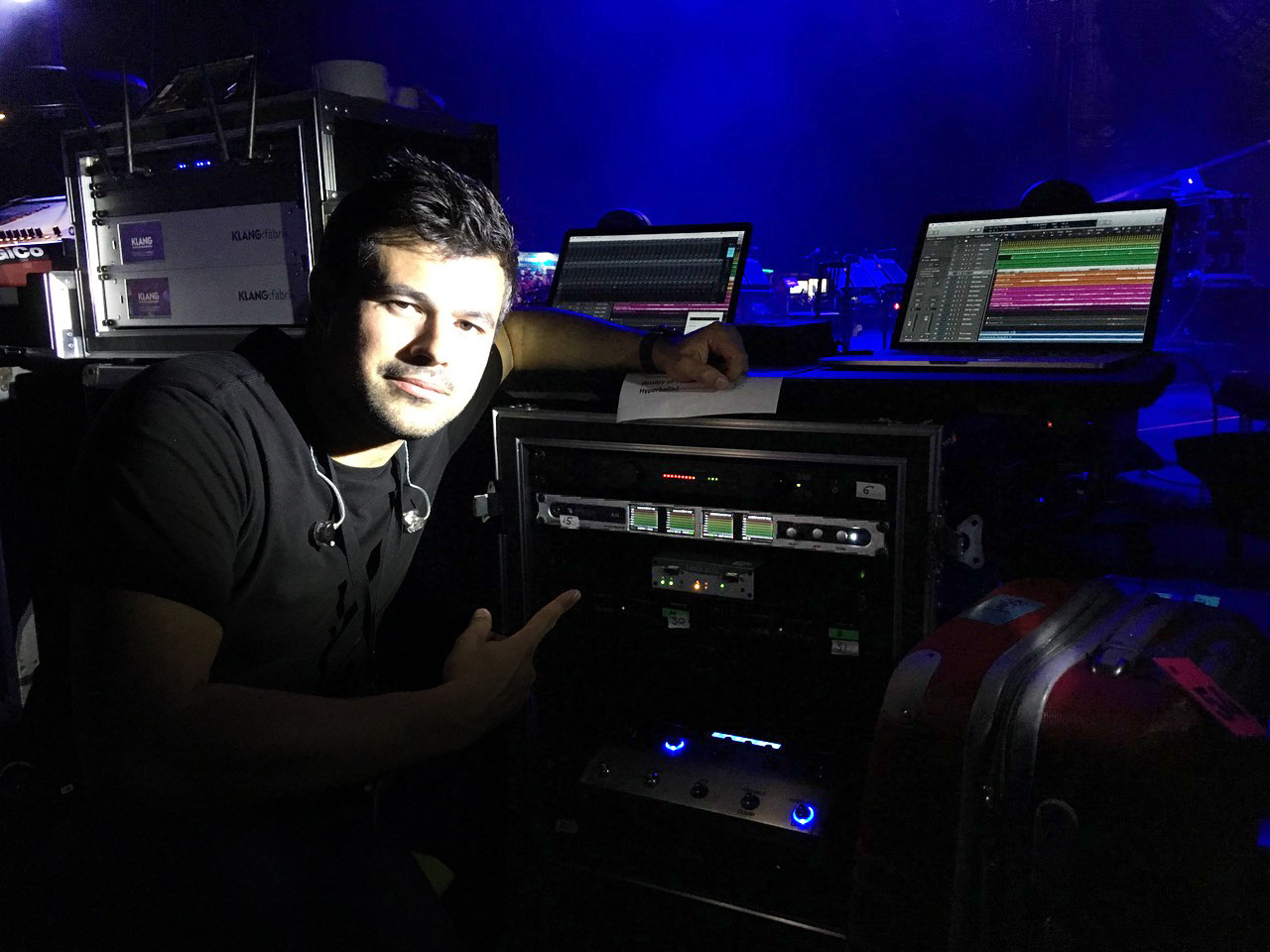 Chris Elms with the RME and Ferrofish playback rig - Björk - Synthax Audio UK