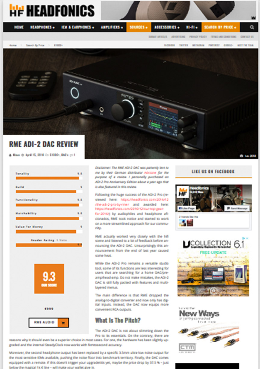 RME ADI-2 DAC review by Headfonics