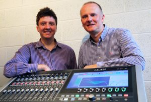 Jim Green and Martin Warr with the Calrec Brio 36