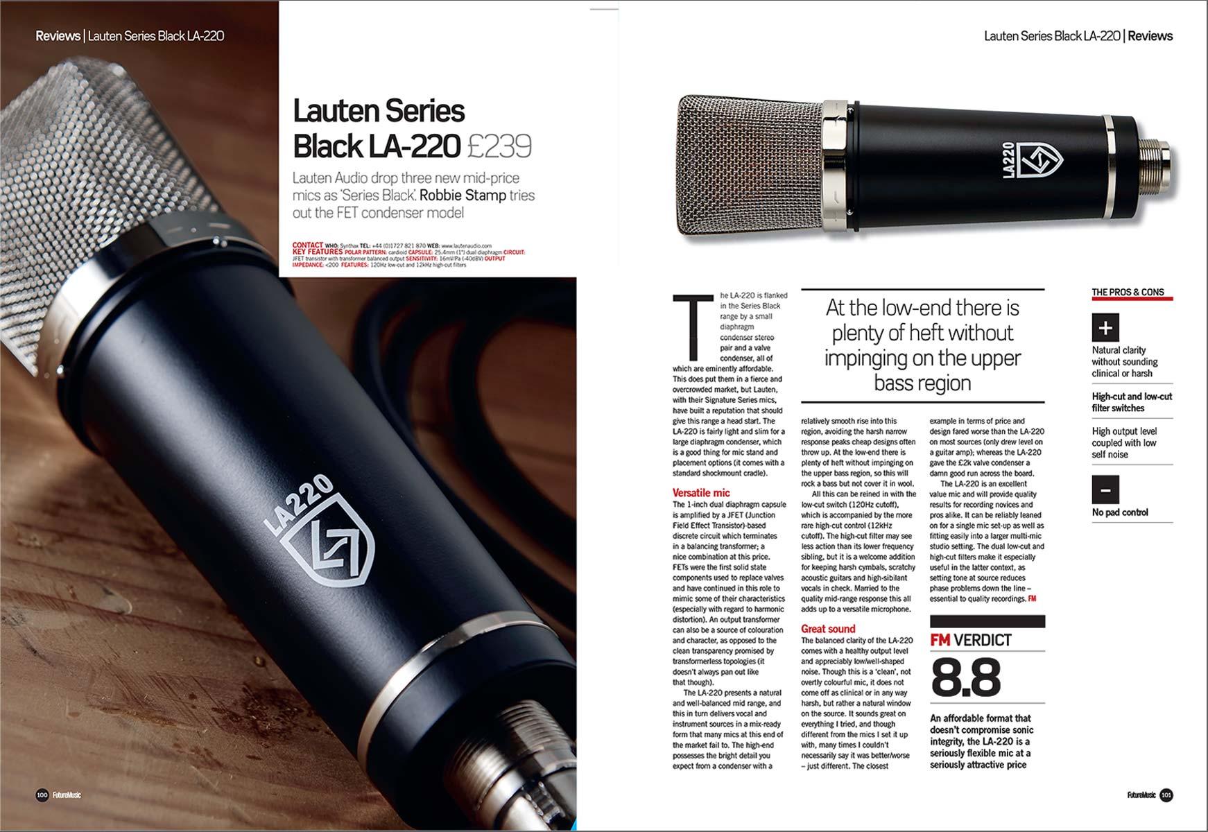 Lauten Audio LA-220 review by Future Music / Music Radar
