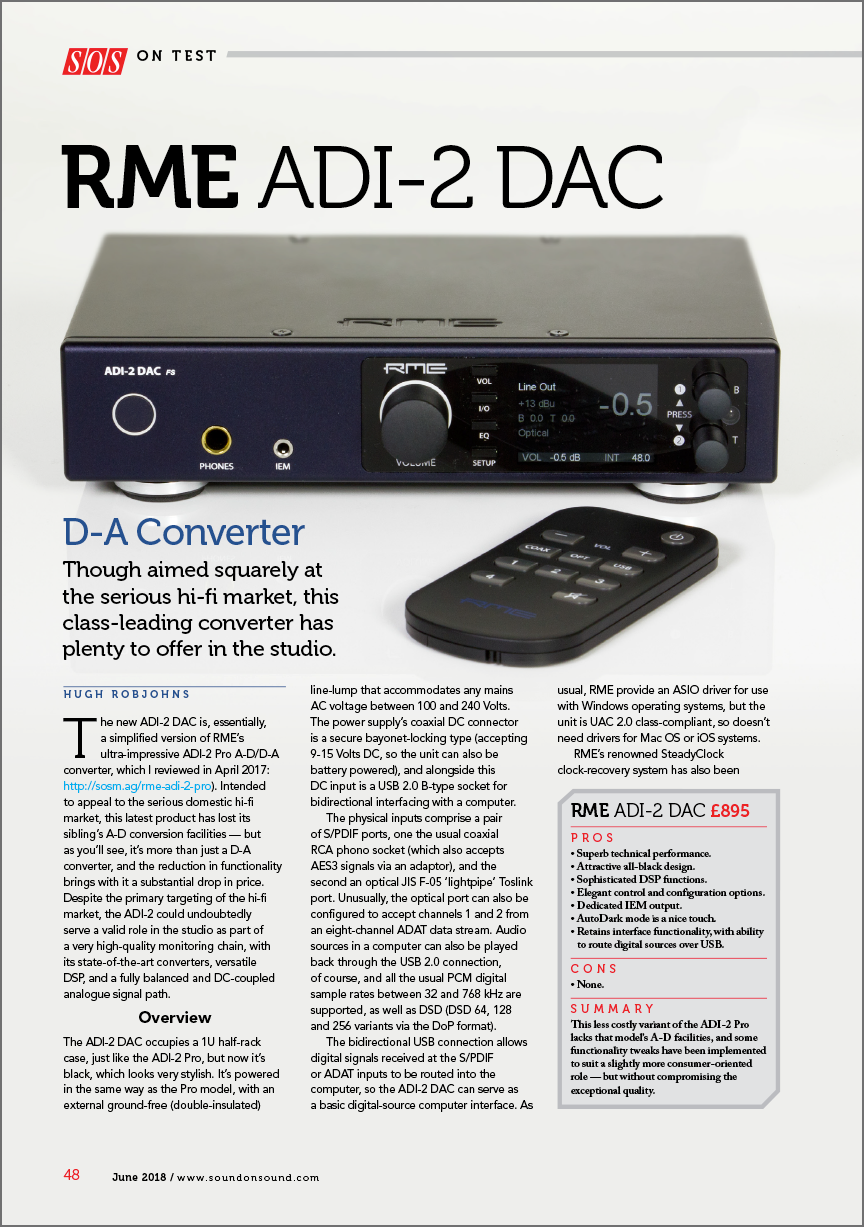 RME ADI-2 DAC review by Sound On Sound - Synthax Audio UK