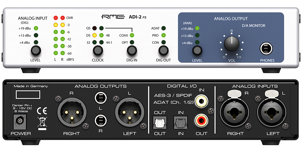 RME ADI-2 FS - Front & Back Panels - Synthax Audio UK