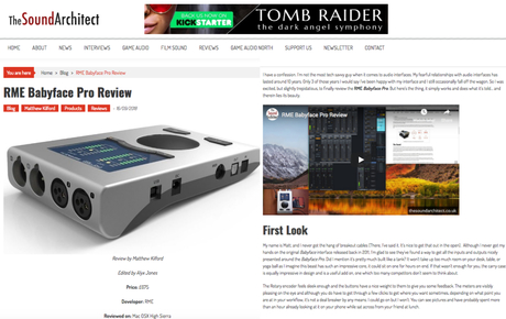 RME Babyface Pro - The Sound Architect - Review - small - Synthax Audio UK