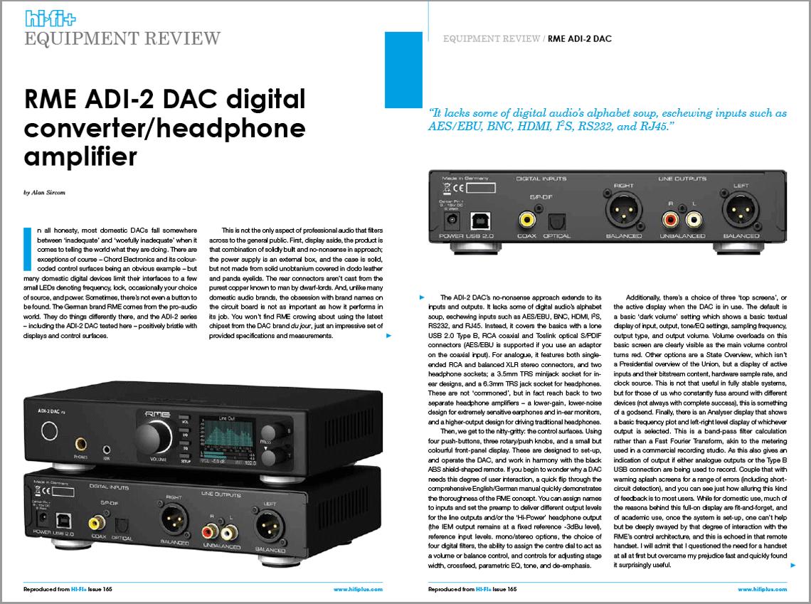 HiFi+ Magazine reviews the RME ADI-2 DAC Headphone Amplifier