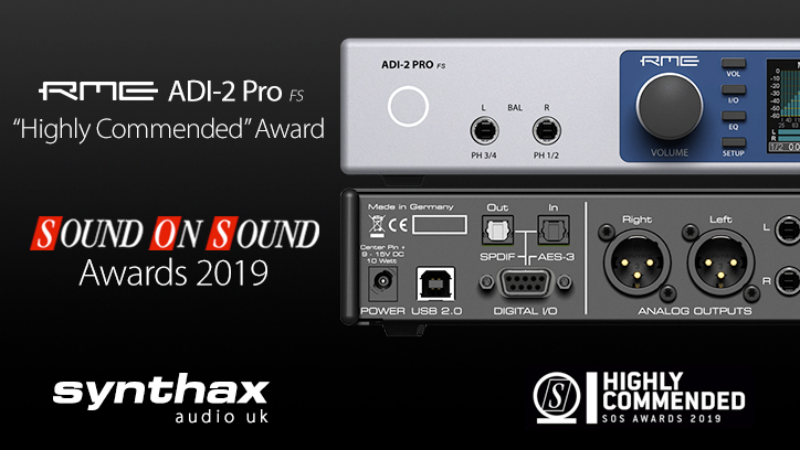 RME ADI-2 Pro FS - Sound Awards 2019 - Synthax Audio UK