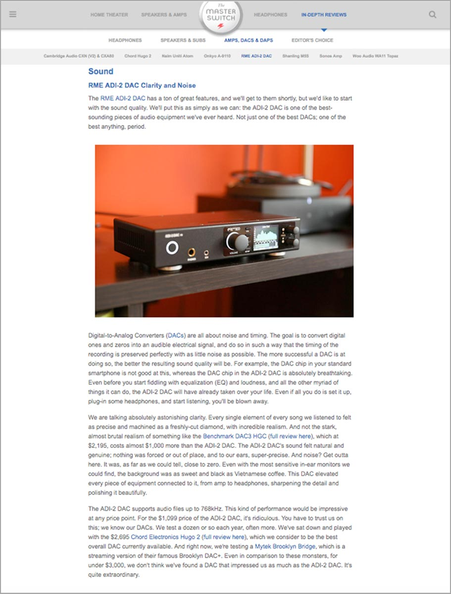 RME ADI-2 DAC - Review - The Master Switch - Synthax Audio UK