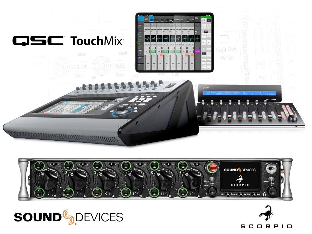 Icon Pro Audio Platform M+ - QSC Touchmix and Sound Devices Scorpio - Synthax Audio UK