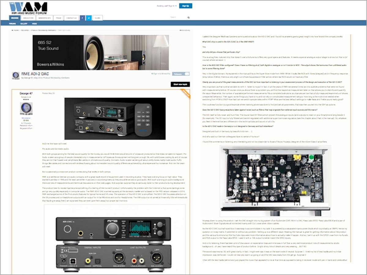 HiFi Wigwam (The WAM) reviews the RME ADI-2 DAC