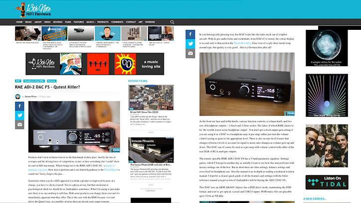 13th Note HiFi Review - RME ADI-2 DAC FS - Synthax Audio UK