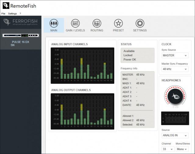 Ferrofish RemoteFish Software - Main Window - Synthax Audio UK