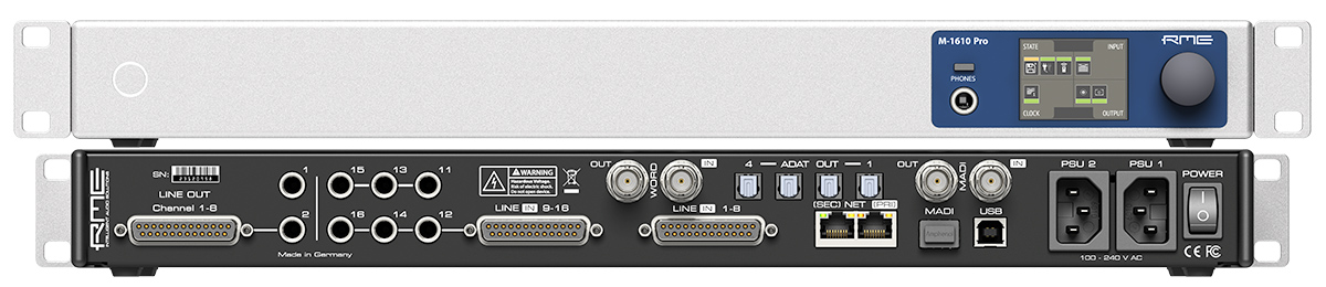RME M-1610 Pro - Front and Back Panel - Synthax Audio UK