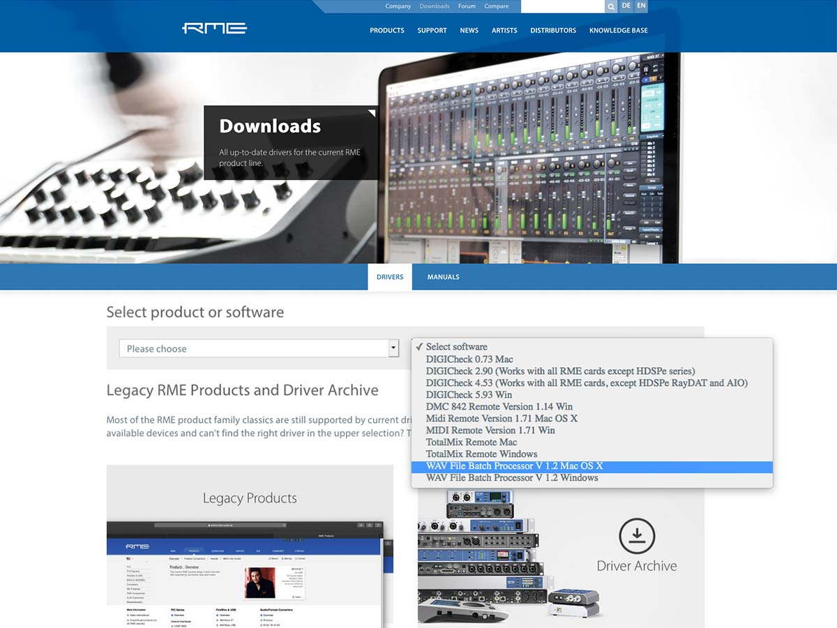 RME WAV File Batch Processor - Download - Synthax Audio UK