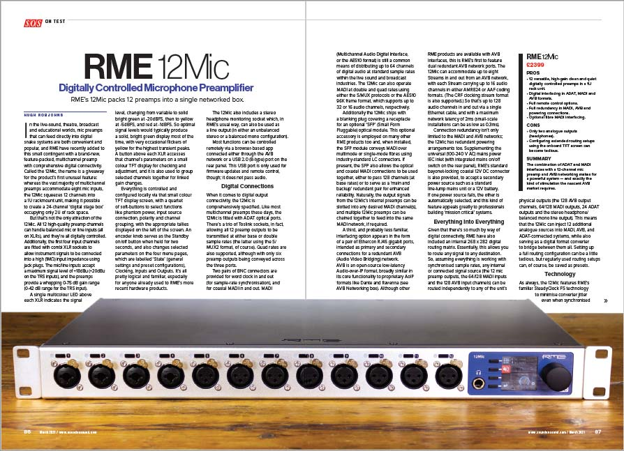RME 12Mic Review Link - Sound On Sound - Synthax Audio UK