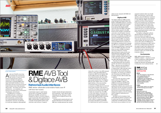 RME AVB Tool & Digiface AVB - Sound On Sound - Review pages - Synthax Audio UK