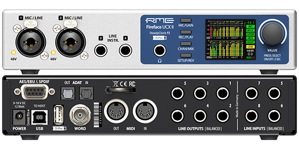 RME Fireface UCX II - Front and Back Panel - Synthax Audio UK