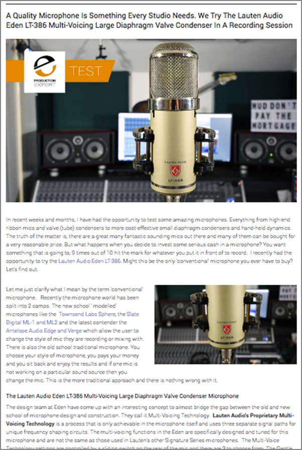 Lauten Audio Eden LT-386 Microphone review by Pro Tools Expert