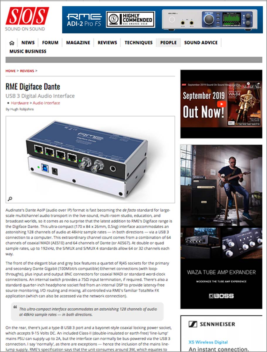 RME Digiface Dante review by Sound On Sound
