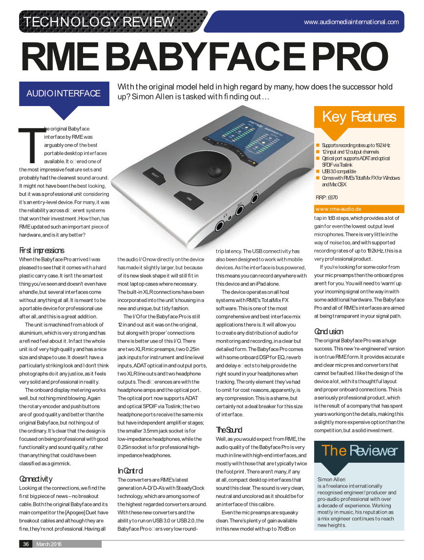 RME Babyface Pro Review - Audio Media International - March 2016 Issue - p36