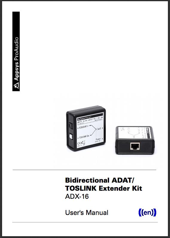 Appsys ProAudio ADX-16 - Bidirectional ADAT/TOSLINK Extender Kit