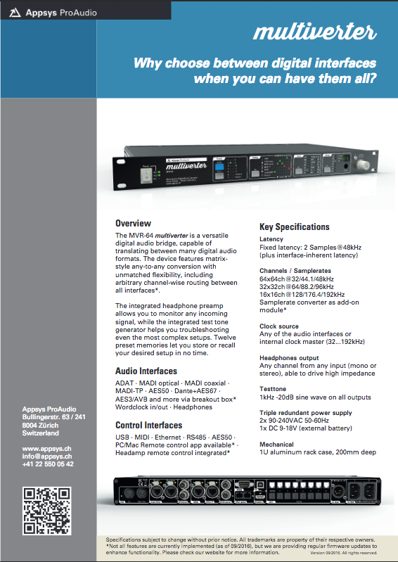 Appsys ProAudio Multiverter MVR-64 Fact Sheet