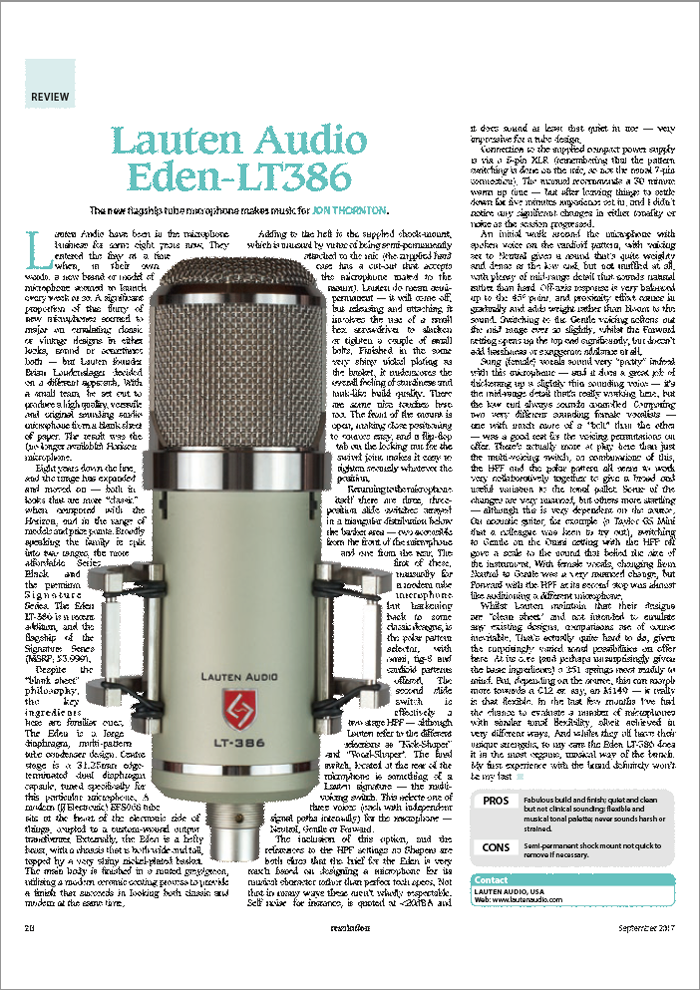 Lauten Audio Eden LT-386 Microphone review by Resolution Magazine
