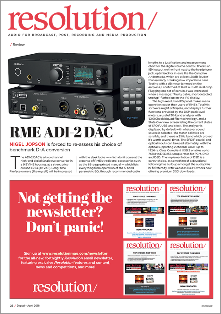 RME ADI-2 DAC review by Resolution