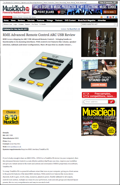 RME ARC USB review by MusicTech
